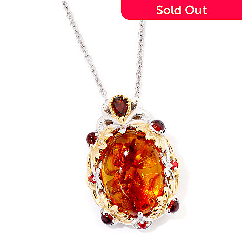 118-718 - Gems en Vogue II Baltic Amber, Garnet & Orange Sapphire Pendant w/ Chain