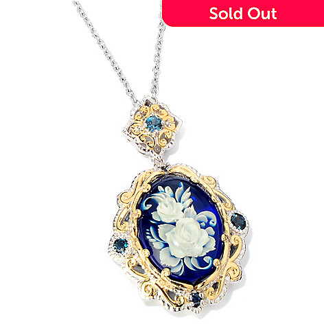 118-720 - Gems en Vogue Carved Amber, London Blue Topaz & Blue Sapphire Pendant w/ Chain