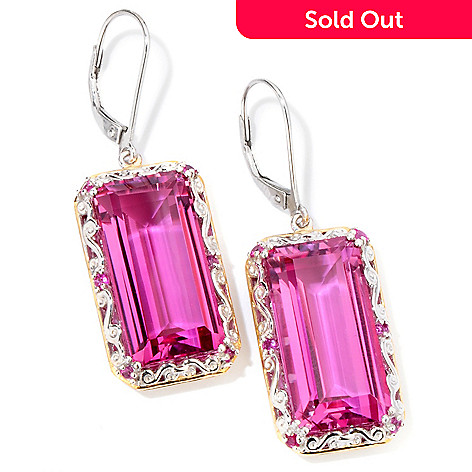 118-721 - Gems en Vogue II 24.26ctw Elongated Quartz Doublet & Pink Sapphire Drop Earrings