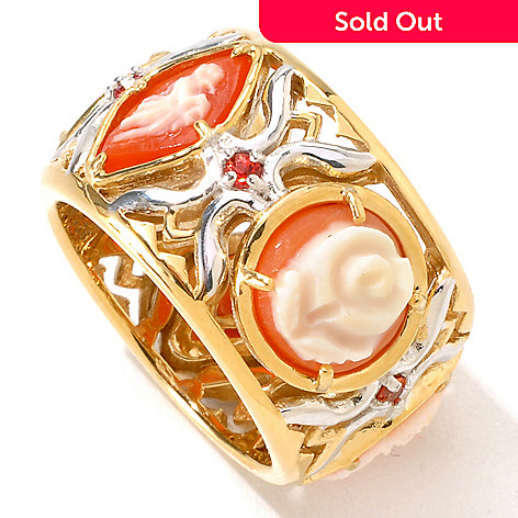 118-727 - Gems en Vogue Hand-Carved Multi Shell Cameo & Orange Sapphire Eternity Band Ring