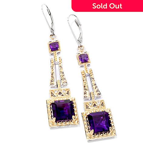 118-730 - Gems en Vogue 12.64ctw Princess Cut Amethyst & White Sapphire Drop Earrings