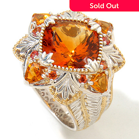 118-738 - Gems en Vogue 6.62ctw Cushion Madeira Citrine & Orange Sapphire Ring