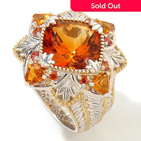 118-738 - Gems en Vogue 6.62ctw Cushion Madeira Citrine & Orange Sapphire Ring