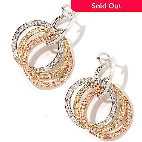 118-786 - EFFY 14K Tri-Color Gold 0.84ctw Diamond Circle Earrings