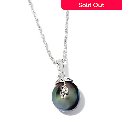 118-849 - Sterling Silver 11-12mm Tahitian Cultured Pearl & Diamond Pendant w/ Chain