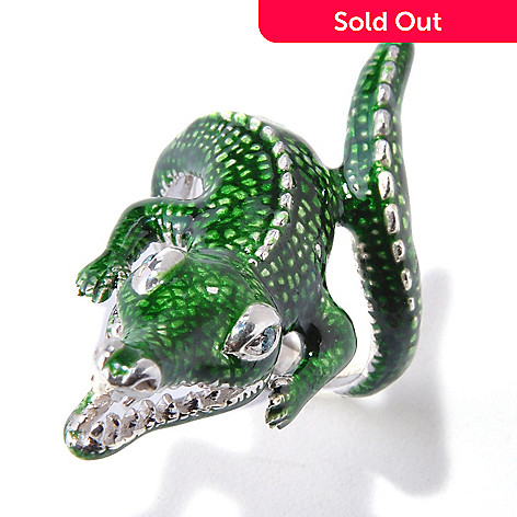 118-864 - Gem Treasures® Sterling Silver 0.04ctw Diamond & Enamel Alligator Ring