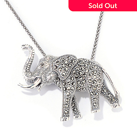 118-871 - Gem Treasures® Sterling Silver Marcasite Elephant Pin/Pendant w/ Chain