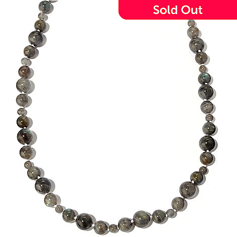 118-886 - Gem Insider™ Sterling Silver 37'' Labradorite Multi Size Bead Necklace