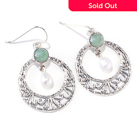 118-947 - Israeli Artisan Sterling Silver 5-5.5mm Freshwater Cultured Pearl & Gemstone Earrings