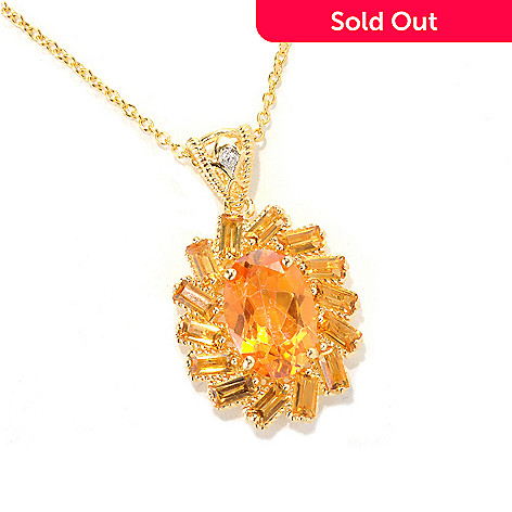 118-973 - NYC II™ Exotic Topaz & Gemstone Halo Pendant w/ 18'' Chain