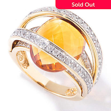 118-988 - Beverly Hills Elegance 14K Gold 8.10ctw Citrine & Diamond Cage Ring