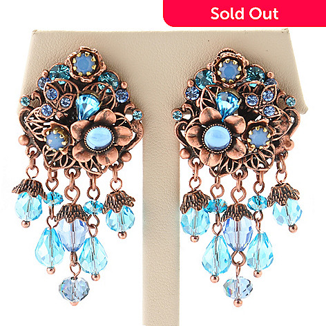 119-030 - Sweet Romance Rose-tone 1950s Inspired Aqua Bead Floral Earrings