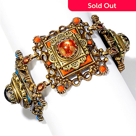 119-031 - Sweet Romance™ Gold-tone 8'' Glass & Enamel ''Desert Colors'' Link Bracelet