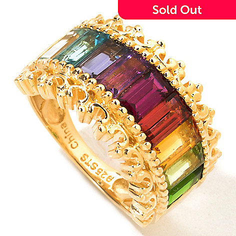 119-052 - NYC II 3.11ctw Baguette Cut Multi Gemstone Rainbow Band Ring
