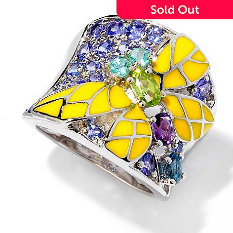 119-060 - NYC II® 1.51ctw Multi Gemstone & Enamel Wide Band Dragonfly Ring