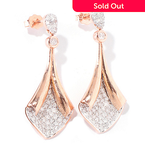 119-068 - Beverly Hills Elegance® 14K Rose Gold 1.00ctw Diamond Fold Over Earrings
