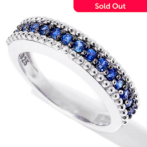119-079 - Gem Treasures Sterling Silver Fancy Sapphire Beadwork Band Ring