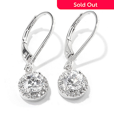 119-091 - TYCOON for Brilliante® Platinum Embraced™ Halo Solitaire Drop Earrings