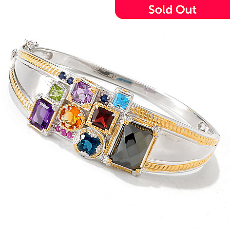 119-110 - Gems en Vogue II Multi Gemstone ''Manhattan'' Hinged Bangle Bracelet