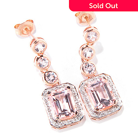119-140 - Gem Treasures 14K Rose Gold 4.90ctw Morganite & Diamond Dangle Earrings