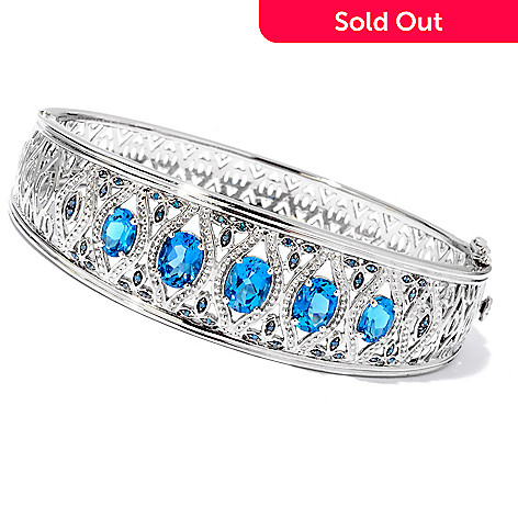 119-161 - NYC II™ 5.22ctw London Blue Topaz & Blue Diamond Hinged Bangle