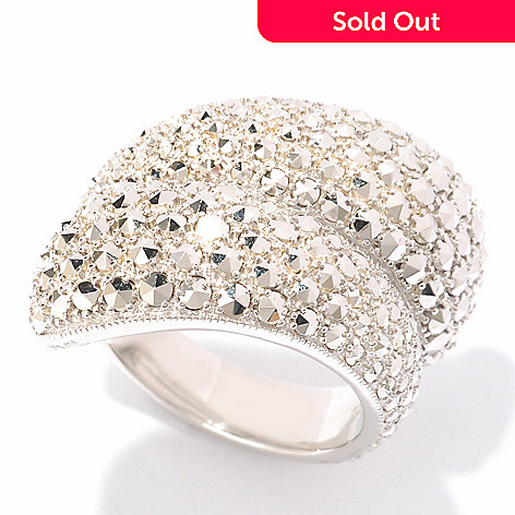 119-171 - Dallas Prince Sterling Silver Chrome Marcasite Bypass Ring