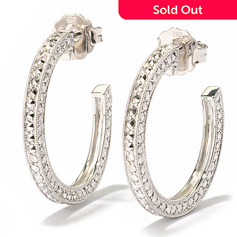 119-172 - Dallas Prince 1.25'' Chrome Marcasite Hoop Earrings
