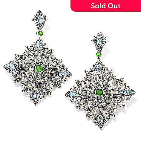 119-216 - Dallas Prince Sterling Silver Chrome Marcasite & Multi Gemstone 2.25'' Earrings