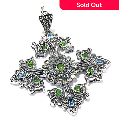 119-220 - Dallas Prince Sterling Silver Chrome Marcasite & Multi Gemstone Cross Pendant