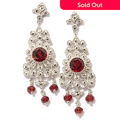 119-223 - Dallas Prince Sterling Silver 1.75'' Garnet & Chrome Marcasite Earrings