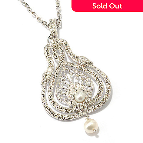119-224 - Dallas Prince Sterling Silver Freshwater Cultured Pearl & Chrome Marcasite Snake Pendant