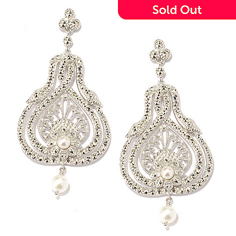 119-225 - Dallas Prince Sterling Silver 2.25'' Freshwater Cultured Pearl & Chrome Marcasite Snake Earrings