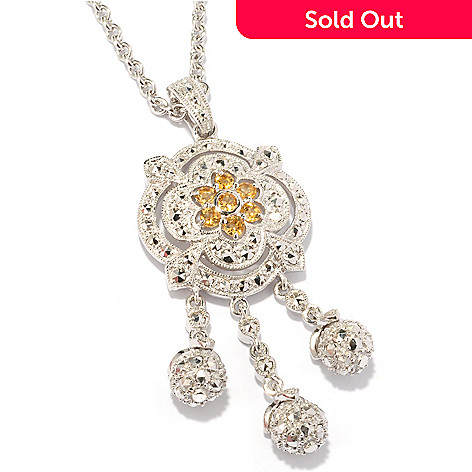 119-226 - Dallas Prince Sterling Silver Chrome Marcasite & Citrine Rose Bud Drop Pendant w/ Chain