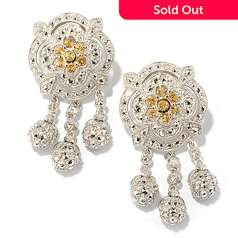 119-227 - Dallas Prince Sterling Silver 1.75'' Chrome Marcasite & Citrine Rose Bud Drop Earrings