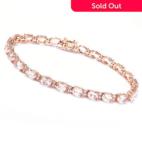 119-235 - Gem Treasures® 14K Rose Gold 7.25'' Morganite & Diamond Bracelet