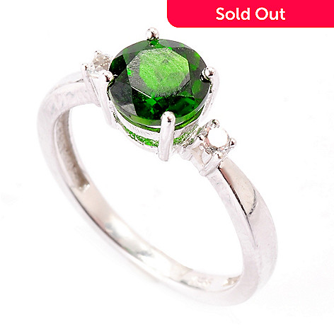 119-251 - Gem Insider Sterling Silver 1.12ctw Chrome Diopside & White Topaz Ring