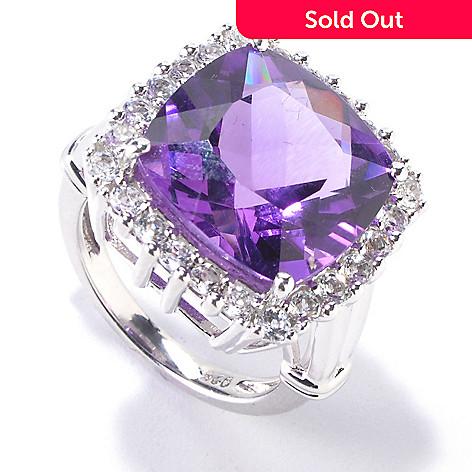 119-255 - Gem Insider™ Sterling Silver 9.52ctw Amethyst & White Topaz Square Ring
