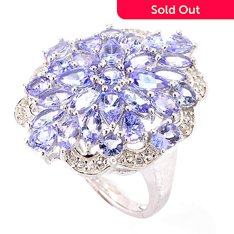 119-258 - Gem Insider Sterling Silver 3.59ctw Multi Shaped Tanzanite & White Topaz Ring