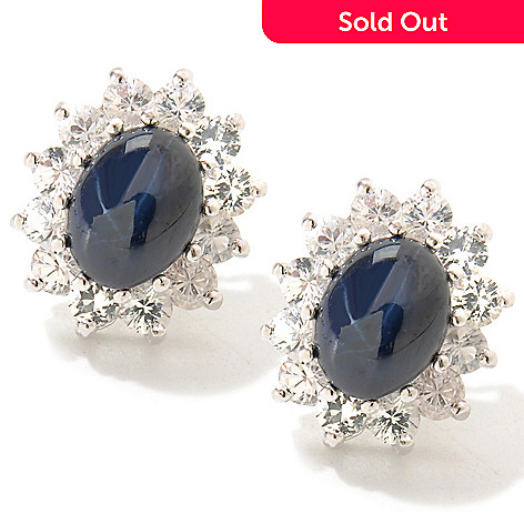 119-259 - Gem Insider™ Sterling Silver 5.30ctw Blue & White Sapphire Star Earrings