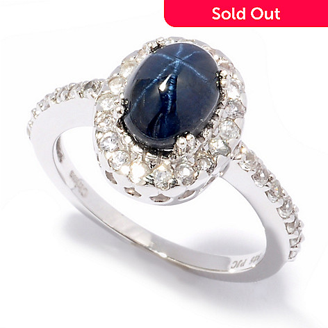 119-260 - Gem Insider Sterling Silver 1.95ctw Blue & White Sapphire Ring