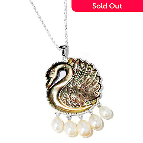 119-269 - Gem Treasures® Sterling Silver Mother-of-Pearl & Cultured Pearl Swan Pendant