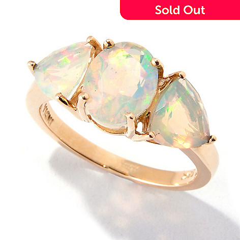119-288 - Gem Insider 14K Gold 2.00ctw Ethiopian Opal Trillion Three-Stone Ring