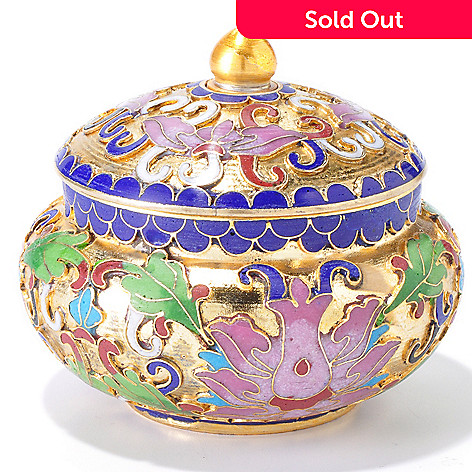 119-343 - Cloisonne Pink Lotus & Green Leaf Design Jewelry Box