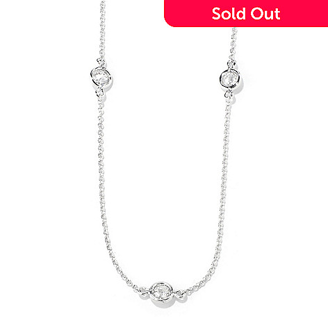 119-346 - BELITA™ Platinum Embraced™ Brilliante® 18'' 2.30 DEW Bezel Set Station Necklace