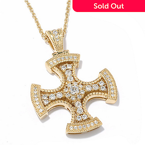 119-354 - Sonia Bitton 1.15 DEW Simulated Diamond Cross Pendant w/ 18'' Chain