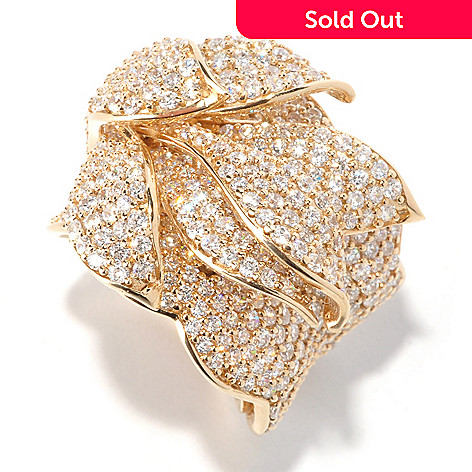 119-364 - Sonia Bitton 6.08 DEW Round Pave Simulated Diamond Layered Petal Ring