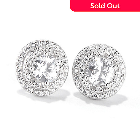 119-390 - TYCOON for Brill Platinum Embraced[ Double Halo Stud Earrings