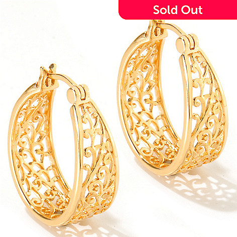 119-396 - Jaipur Jewelry Bazaar™ Gold Embraced™ Filigree Oval Hoop Earrings