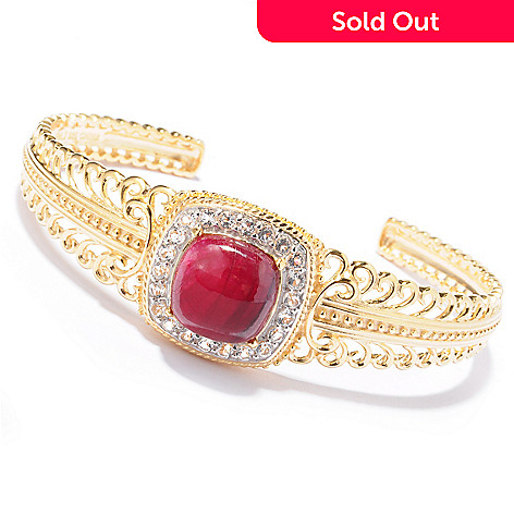 119-399 - Jaipur Bazaar Gold Embraced™ 7.25'' Dyed Ruby & White Topaz Cuff Bracelet