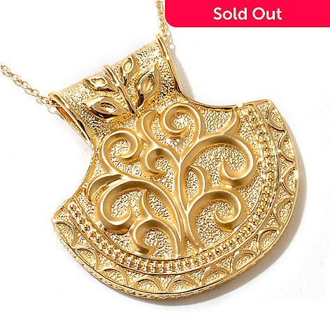 119-401 - Jaipur Jewelry Bazaar™ Gold Embraced™ Textured Half-Moon Shield Pendant w/ Chain